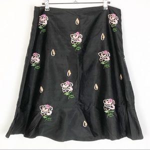 Odille embroidered silk skirt
